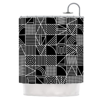 "Fimbis ""Whack"" Black White Shower Curtain"