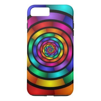 Round and Psychedelic Colorful Modern Fractal Art iPhone 7 Plus Case