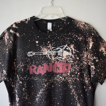 RANCID // Punk Rock Bleach Splattered Band T-Shirt // Violent, Distressed One of A Kind Rocker Fashion // Sz XL