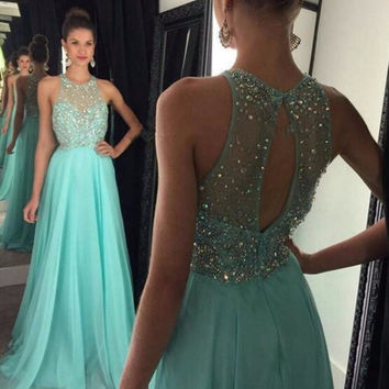 Honey Qiao Prom Dresses Mint Green Illusion Beaded Lace Bodice Chiffon Floor Length Vestido De Festa Long Graduation Gowns