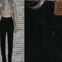 90s High Waist Mom Jeans Tapered Distressed Skinny Black Grunge Hipster Pastel Goth Festival Punk Gothic Levis Denim 10 12 32  Boho