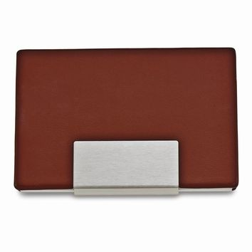 Brown Faux Leather Business Card Case