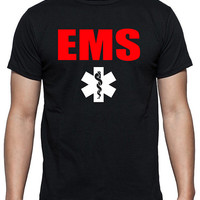 EMS T-Shirt in Two Color Design, Emergency Medical Services, EMT, Paramedics, In Black, Gray and White.