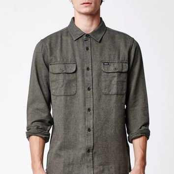 RVCA Coyote Flannel Long Sleeve Button Up Shirt - Mens Shirts - Green