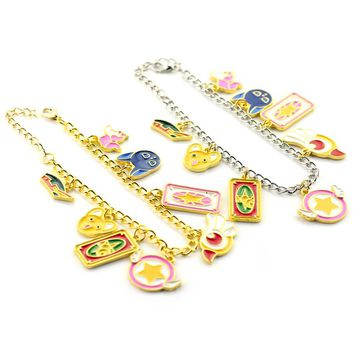 Cute Sailor moon charm bracelet magic card Golden Pendent bracelet Female High Quality Gift For Fans Anime Jewelry Free Shipping