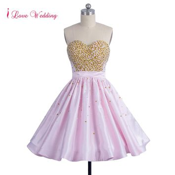 2018 New Arrival Puffy Pink Prom Dresses Sweetheart Neckline Gold Sequin Beaded Ruffles Satin Short Party Dresses Knee Length
