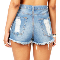Wasted Youth High Waist Shorts | Denim Shorts at Pink Ice