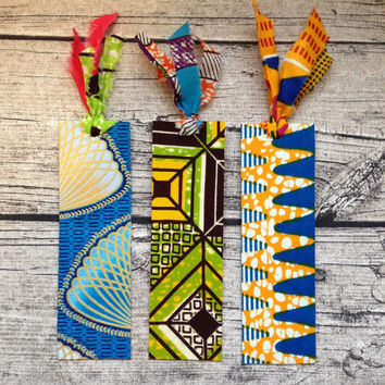 Fabric book marks. African book mark, African wax bookmark, Wax print book marks, Handmade pack of three bookmarks