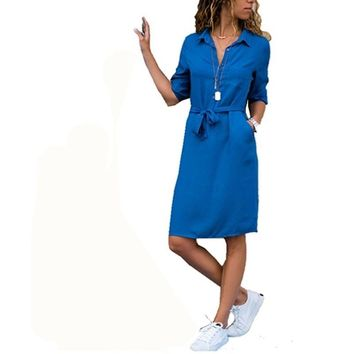 good quality 2019 New Autumn Winter Women Three Quarter Shirt Dress Fashion Ladies Turn-Down Collar Casual Loose Midi Dresses Vestidos