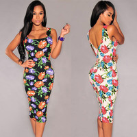 Floral Sleeveless Square Neck Back V Midi Bodycon Dress