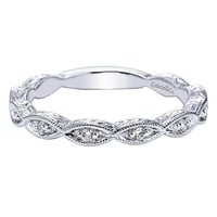14K White Gold Victorian Style Marquise Shaped Diamond Station Wedding Band
