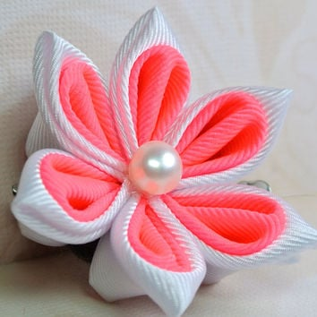 White and hot pink grosgrain ribbon by KanzashibySharscream