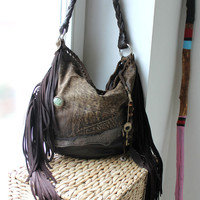 Distressed chocolate natural brown leather hobo shoulder purse boho bohemian artisan bag fringe long fringes sweet smoke bags 4 free  people
