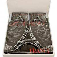 Paris France Bed Sheets by TeshiaArt