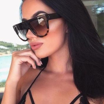 TEAR DROP Flat Top Aviator Oval Retro Tortoise Shadow Women Elite Sunglasses
