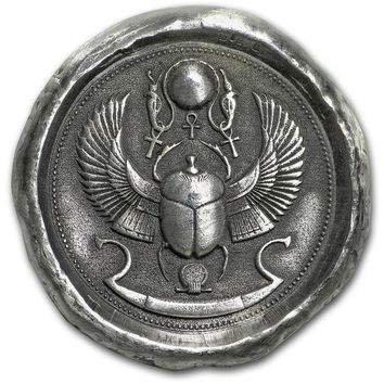1 oz Hand-Poured Silver Round - Scarab Beetle