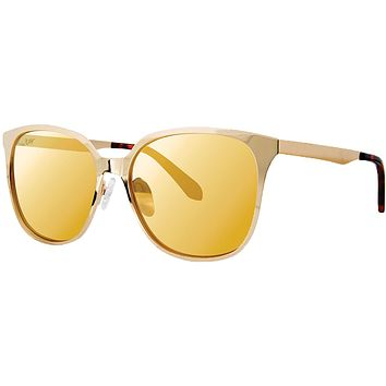 Landon Sunglasses in Gold Metallic With Gold Lenses by Lilly Pulitzer
