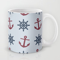 Ship Wheels and Anchors Mug by Doodle's Designs