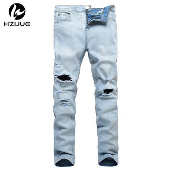 HZIJUE 2017 new arrival mens hip hop swag biker jeans true ripped destroyed skinny slim fit blue famous brand style clothing men
