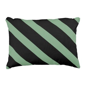 Sage Green and Black Wide Diagonal Stripes Pattern Decorative Pillow