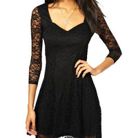 Black Cut-Out Lace Half Sleeve Mini Dress
