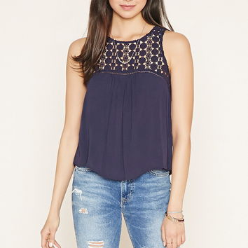 Floral Crochet-Panel Gauze Top