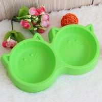 Plastic Cat Face Double Food Bowl