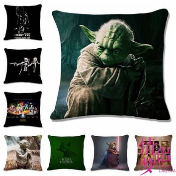 Fashion High Quality Cotton Linen Star Wars Yoda Car Decorative Throw Pillow Case Cushion Cover Sofa Home Decor
