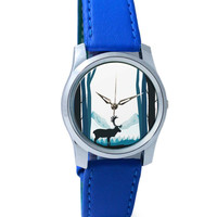 Reindeer In Snow Illustration Wrist Watch