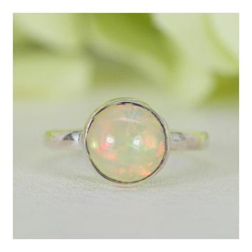 Sterling Silver Round Cabochon Natural Ethiopian Welo Opal Ring