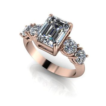 3.42 CTW 5-Stone Anniversary Ring, Forever One Ring, Moissanite Ring, Emerald Cut Ring, Engagement Ring