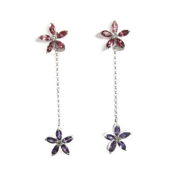 Pink Tourmaline and Amethyst Floral Flower Dangle Earrings 10K White Gold