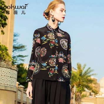 Pokwai Casual Print Silk Blouse Shirt Women Fashion Arrival Nine Quarter Sleeve Turn-Down Collar Button Tops