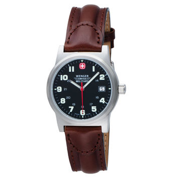 Wenger 72917 Men's Military Classic Field Sports Black Dial Brown Leather Strap Swiss Watch