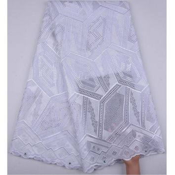African Dry Lace Fabric Swiss Voile With Stones Swiss Cotton Lace High Quality 2018 African Lace Fabrics For Wedding Dress A1265
