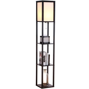 Brightech - Maxwell LED Shelf Floor Lamp Box Display Shelves- Black