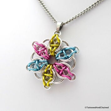 Pansexual pride pendant, chainmaille Celtic star; pink, yellow, light blue