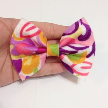 Bright Floral Pattern Felt Hair Bow on Alligator Clip - 4 Inches Wide - AFFORDABOW Line - Affordable and High Quality Hair Bows