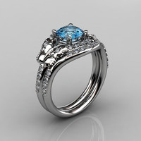 14KT White Gold Diamond Leaf and Vine Blue Topaz Wedding Band Engagement Ring Set NN117S-14KWGDBT Nature Inspired Jewelry