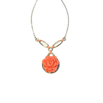 Art Deco Rose Necklace. Coral Celluloid Flower Pendant. Enamel, Sterling Silver Choker, Gold Gilt Wash. Vintage 1930s Art Deco Jewelry