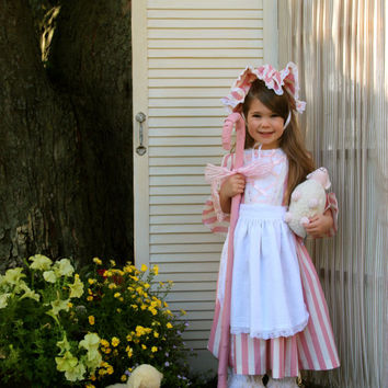 Little Bo Peep Costume Size 3 with Pink and Ivory Dress, Ivory Pantaloons, White Apron and Pink and Ivory Hat Ready to Ship