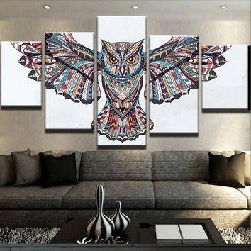 Canvas HD Printed Painting Home Decor 5 Pieces  Owl Poster Modular Animal Pictures Living Room Wall Art Frameworks