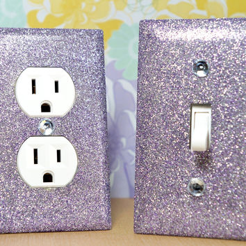 Set of purple sapphire glitter switch plate outlet covers