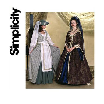 RENAISSANCE LACED DRESS Skirt Hat Apron Top Costume Historical Middle Ages Reenactment Simplicity 7756 Bust 34 36 38 UNCuT Sewing Patterns