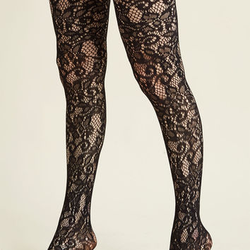 Intricately Exquisite Tights in Black
