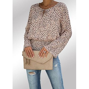 Blouse Women's Lace Up Leopard Print Round Neck Bell Sleeve
