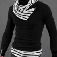 Black and White High Collar Stripe Long Sleeve Sweater