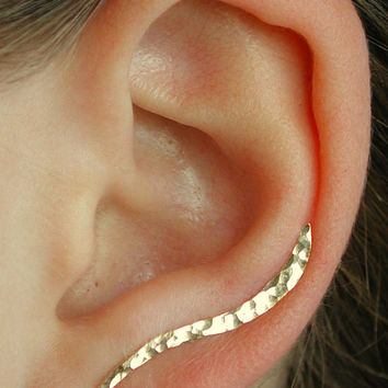 Ear Pin - Hand Hammered Wave - PAIR -14K Gold Filled or Sterling Silver