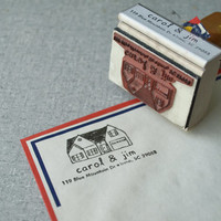 Custom Address Stamp - Custom House Address Rubber Stamp - Custom House Drawing