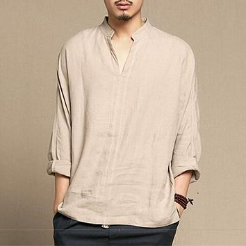 Chinese Style Linen Breathable Soft Long Sleeve Casual Shirt